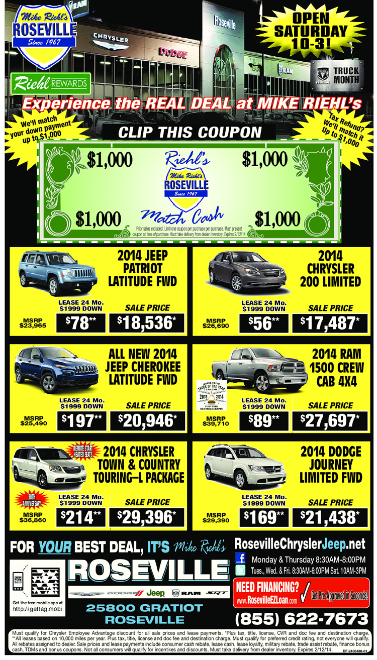 Mike Riehl's Roseville Chrysler Jeep Specials February 2014
