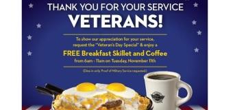 Veterans Day 2014 :  Full List Of Restaurants Offering Free Food & Freebies