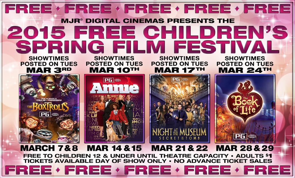 Free kid's movies  at MJR Digital Cinemas