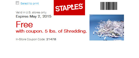 Free Paper Shredding Coupon at Staples