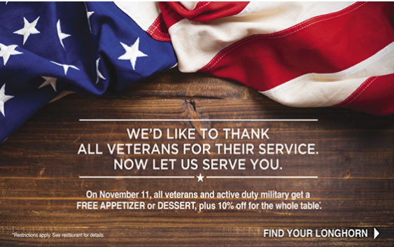 The following is a list of 40+ Veterans Day 2016 Free Meals, Restaurant Freebies, deals, & complimentary cuisines for Veterans Day 2016 . ( Updated 11/11/16)